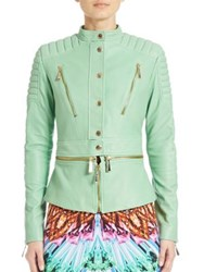 Just Cavalli Leather Zipper Detail Moto Jacket