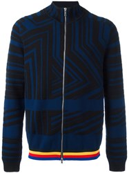 Iceberg Stripes Pattern Zipped Cardigan Blue