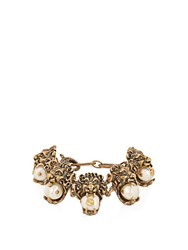 Gucci Pearl Effect Embellished Lion Bracelet Gold Multi