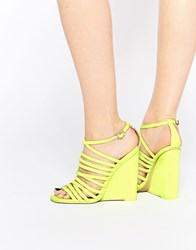 Asos Headland Caged Wedges Lime Yellow