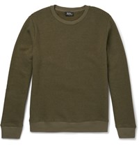 A.P.C. Slim Fit Washed Cotton Blend Jersey Sweatshirt Green