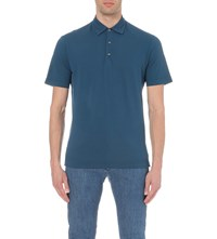Canali Cotton Pique Polo Shirt Petrol