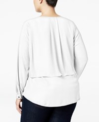 Ny Collection Plus Size Zip Front Popover Blouse Atlas Ivory
