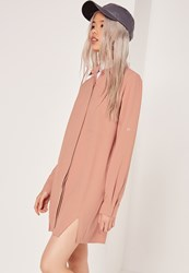Missguided Front Split Shirt Dress Nude Beige