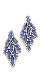Elizabeth Cole Bacall Earrings New Cobalt