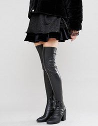 Daisy Street Black Thigh High Heeled Over The Knee Boots Black