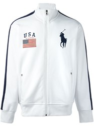 Polo Ralph Lauren Stripe Detail Flag Patch Cardigan White
