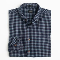 J.Crew Slim Brushed Twill Shirt In Blue Plaid Atlantic Navy