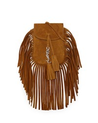 Saint Laurent Anita Mini Flat Shoulder Bag W Fringe Light Ochre Men's Light Ocre