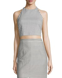 Alice Olivia Jaymee Striped Cropped Halter Top Black White Women's
