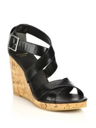 Cole Haan Jillian Cork Wedge Leather Sandals Black