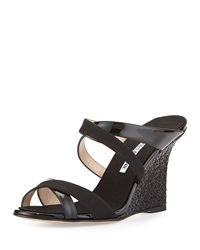 Manolo Blahnik Varchi Patent Leather And Linen Crisscross Wedge Sandal Black