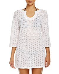 Laundry By Shelli Segal Spellbound Crochet Tunic Cover Up White