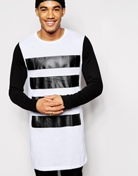 Asos Super Longline Long Sleeve T Shirt With Stripe Print Whiteblack