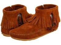 Minnetonka Concho Feather Side Zip Boot Brown Suede Women's Pull On Boots