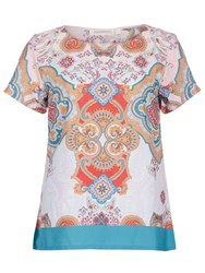Sugarhill Boutique Paisley Print T Shirt Top Multi Coloured