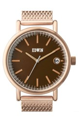 Men's Edwin 'Epic' Mesh Strap Watch 42Mm