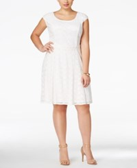 Love Squared Trendy Plus Size Lace Fit And Flare Dress Ivory