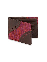 Robert Graham Oman Leather And Paisley Bi Fold Wallet Purple Brown