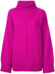 G.V.G.V. Raw Edge Turtleneck Pullover Pink Purple