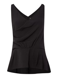 Y.A.S Sleeveless V Neck Drape Front Top Black