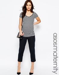 Asos Maternity Linen Tapered Pant Navy