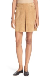 Vince Women's Inverted Pleat Suede Miniskirt Tan