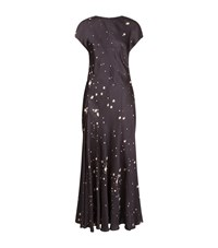 Alexander Wang Splatter Print Satin Maxi Dress Female Grey