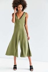 Silence And Noise Meredith Woven Culotte Jumpsuit Olive