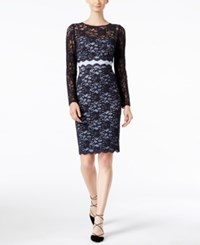 Inc International Concepts Lace Sheath Dress Only At Macy's Navy Light Blue