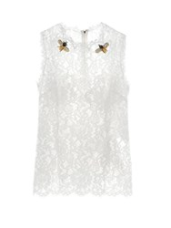 Dolce And Gabbana Cordonetto Lace Embellished Sleeveless Top White