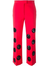 Msgm Circles Applique Cropped Trousers Pink And Purple