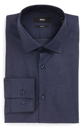 Boss Men's Big And Tall Slim Fit Houndstooth Dress Shirt Blue