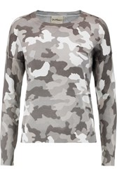 Dkny Camouflage Print Cotton Blend Sweater Gray
