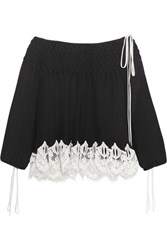Chloe Off The Shoulder Macrame Lace Trimmed Plisse Chiffon Blouse Black