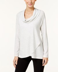 Styleandco. Style Co. Cowl Neck Crossover Hem Top Only At Macy's White Heather