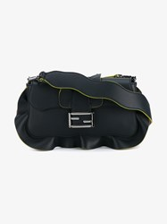 Fendi Ruffle Trimmed Leather Baguette Bag Navy Blue Yellow Pink Light Pink