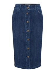 Linea Denim Button Down Skirt Denim Mid Wash