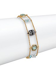 Alexis Bittar Elements Mother Of Pearl Apatite And Swarovski Crystal Skull Bracelet Gold