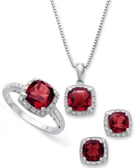 Macy's Sterling Silver Jewelry Set Garnet 4 3 4 Ct. T.W. And Diamond Accent Necklace Earrings And Ring Set