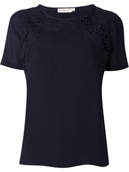 Tory Burch Embroidered T Shirt Blue
