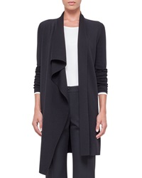 Akris Long Sleeve Ruffle Front Cardigan Black