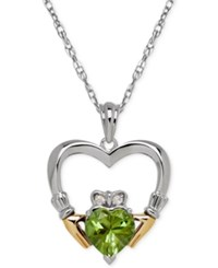 Macy's Peridot 1 1 3 Ct. T.W. And Diamond Accent Heart Pendant Necklace In Sterling Silver And 14K Gold