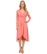 Mod O Doc Cotton Modal Spandex Jersey 3 4 Sleeve Shirred Empire Hi Low Dress Cafe Coral Women's Dress Orange