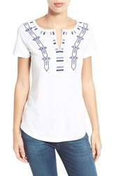 Women's Caslon Embroidered Split Neck Tee White Blue Embroidery