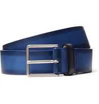 Paul Smith 3Cm Blue Burnished Leather Belt Blue