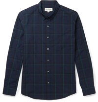 Solid Homme Slim Fit Checked Cotton Blend Shirt Blue