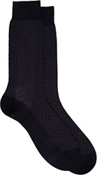 Barneys New York Men's Neat Mid Calf Socks Blue