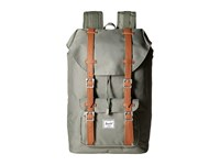 Herschel Little America Mid Volume Deep Lichen Green Tan Synthetic Leather Backpack Bags