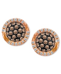 Chocolate By Petite Le Vian Chocolate Diamond 3 8 Ct. T.W. And White Diamond 1 10 Ct. T.W. Pave Oval Stud Earrings In 14K Rose Gold